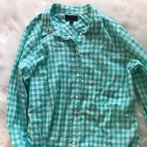 J Crew aqua gingham boy fit button down